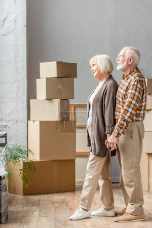 senior couple holding hands and looking in window in new house, moving concept