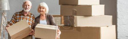 plan panoramique d'un couple âgé tenant une boîte en carton et regardant la caméra dans une nouvelle maison, concept mobile