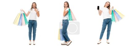 collage of joyful young woman holding shopping bags and smartphone with blank screen isolated on white