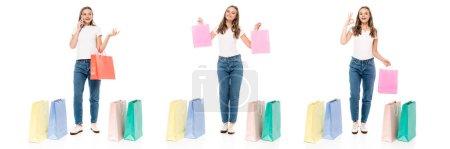 Photo pour Collage de jeune femme parlant sur smartphone et montrant ok signe près de sacs à provisions isolés sur blanc - image libre de droit