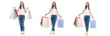 Collage einer zufriedenen jungen Frau in Jeans mit bunten Einkaufstaschen auf weißem Grund