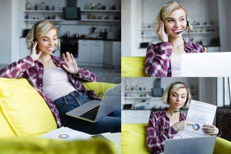 Photo pour Collage of woman having online webinar sitting at home - image libre de droit