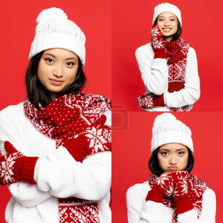 Photo for Collage of asian woman in hat, scarf, mittens pouting lips and smiling isolated on red - Royalty Free Image