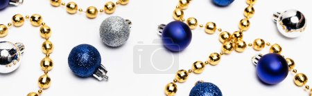 Photo for Blue, silver and golden Christmas decoration on white background, banner - Royalty Free Image