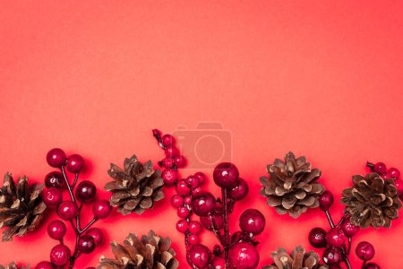 Photo for Top view of cones and berries on red background - Royalty Free Image