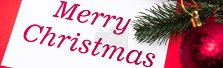Photo for Merry Christmas card and decoration on red background, banner - Royalty Free Image