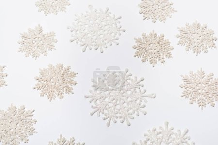 Photo for Composition with winter snowflakes on white background - Royalty Free Image