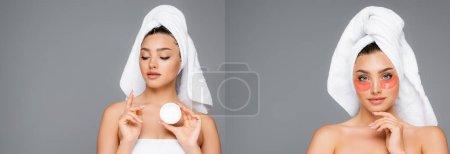 Photo pour Collage de femme avec des patchs et de la crème cosmétique sur le visage isolé sur gris, bannière - image libre de droit