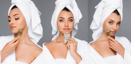 Photo pour Collage de femme avec serviette sur la tête à l'aide de rouleau de jade et gua sha sur le visage isolé sur gris - image libre de droit