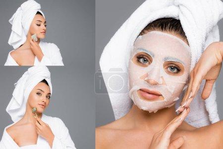 Photo pour Collage de femme en feuille de masque, avec gua sha et rouleau de jade isolé sur gris - image libre de droit