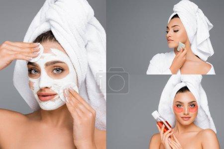 Photo pour Collage de femme en masque d'argile, avec gua sha et lotion isolée sur gris - image libre de droit