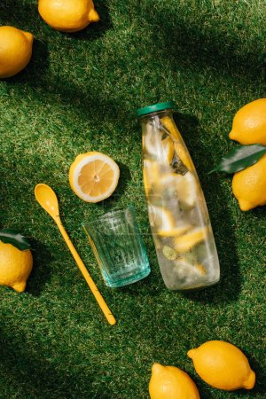 top view of glass, spoon, lemons and lemonade bottle on green lawn