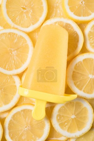 Fruit ice pop on citrus slices background