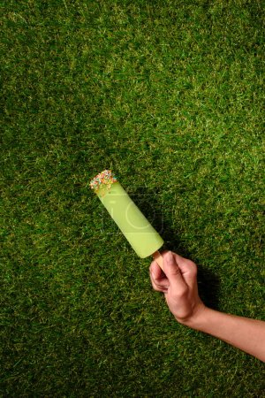 Hand holding fruit ice pop on green grass background