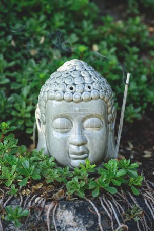 close up of Buddha head with aromatic smoking stick and plants around