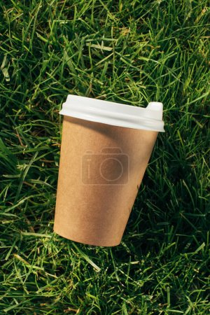 top view of disposable cup of coffee on green grass