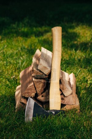pile of firewood and axe on green grass in park