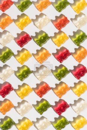 full frame shot of sweet gummy bears pattern on white