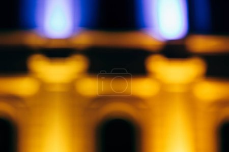 Photo for Close up view of blurred city building at night - Royalty Free Image