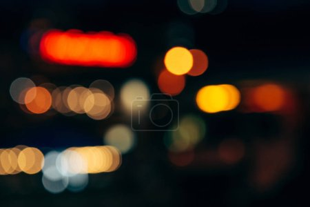 colorful bokeh lights of night city as background