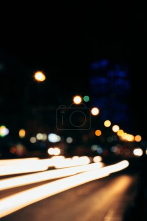 Photo for Colorful bokeh lights of night city as background - Royalty Free Image