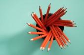 """Постер, картина, фотообои """"повышенные вид чернографитные карандаши в стол Организатор на зеленый"""""""
