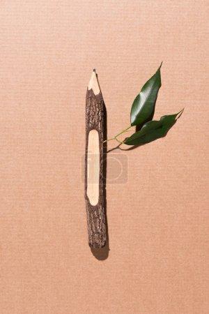 Photo pour Vue de dessus du crayon en bois avec des feuilles vertes sur beige - image libre de droit