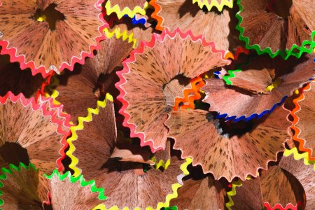 full frame image of colorful pencil shavings background
