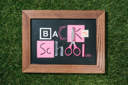 top view of blackboard with back to school lettering made of pink and white objects on green lawn