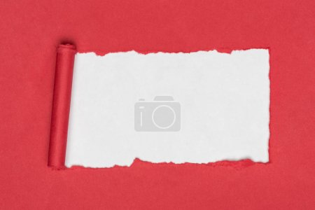 top view of red ripped paper on white