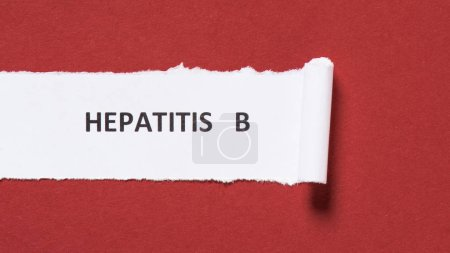 top view of lettering hepatitis b on paper on red background, world hepatitis day concept