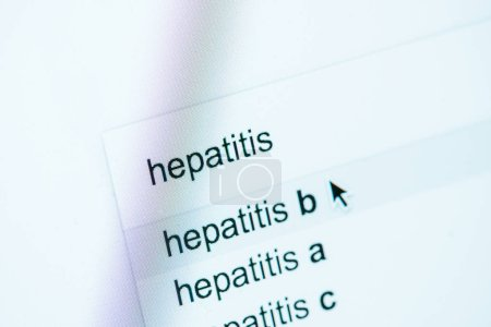 Photo for Close up view of computer screen with lettering hepatitis a, b, c, world hepatitis day concept - Royalty Free Image