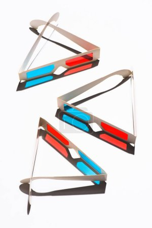 top view of arranged 3d glasses on white tabletop