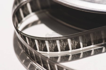 close up view of retro filmstrips on white background