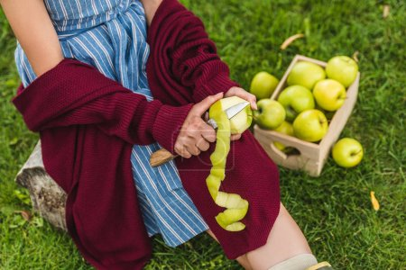 cropped view of girl peeling green apples with knife