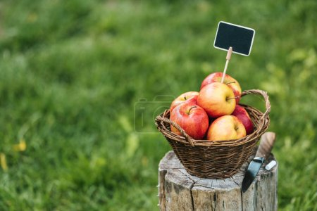 red fresh picked apples in wicker basket with tag for sale