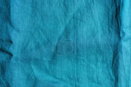 full frame image of blue linen fabric background
