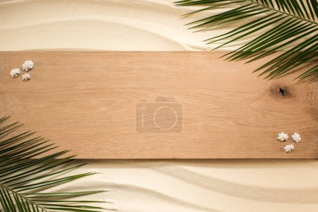top view of palm leaves, wooden plank and seashells on sandy surface