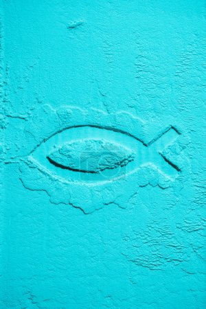 top view of fish symbol in blue flour texture