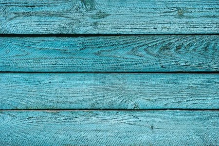top view of bright turquoise wooden background with horizontal planks
