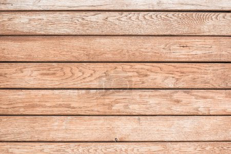 Photo for Top view of light brown wooden background with horizontal planks - Royalty Free Image