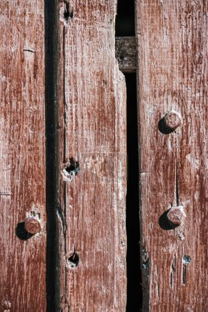 close-up view of old brown wooden fence background