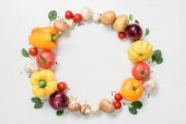top view of circle of ripe delicious vegetables isolated on white