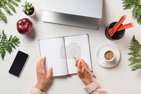 Photo pour Image recadrée de pigiste femme écrivant dans un livre vide à table avec des feuilles portable, smartphone et fougère - image libre de droit