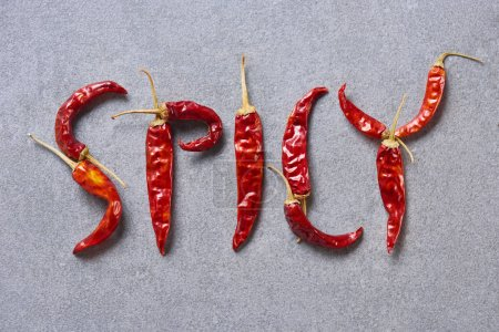 top view of dried chili peppers arranged in spicy lettering on grey tabletop