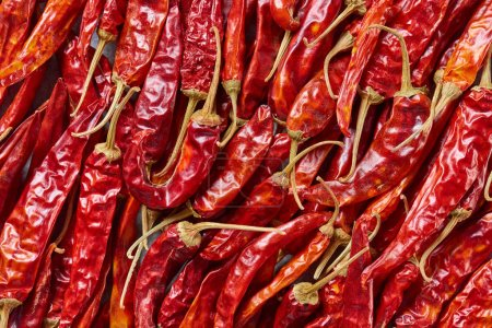 Photo for Full frame of red dried chili peppers as background - Royalty Free Image