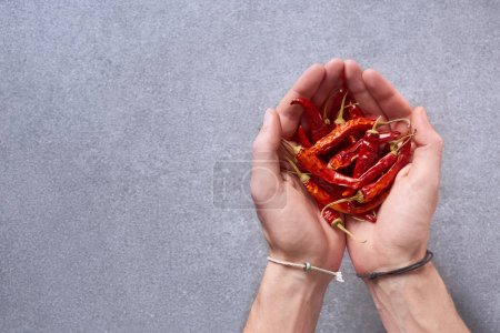 cropped shot of man holding dried chili peppers in hands with grey surface on background