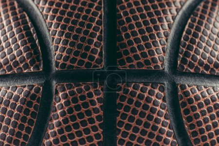close up of leather brown basketball ball