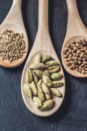 vue rapprochée des cuillères en bois avec la cardamome, graines de coriandre et de cumin noir