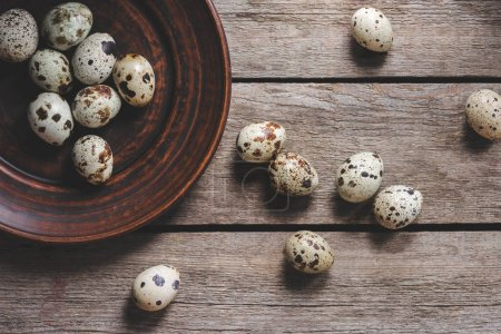 top view of healthy raw quail eggs on plate on wooden table
